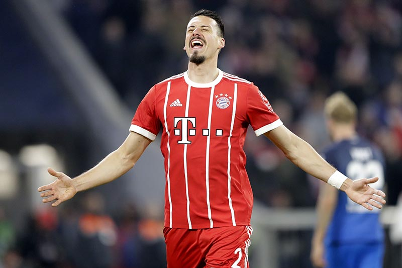 Bayern's Sandro Wagner celebrates after scoring his fifth's fourth goal during the German Soccer Bundesliga match between FC Bayern Munich and TSG 1899 Hoffenheim in Munich, Germany, on Saturday, January 27, 2018. Photo: AP