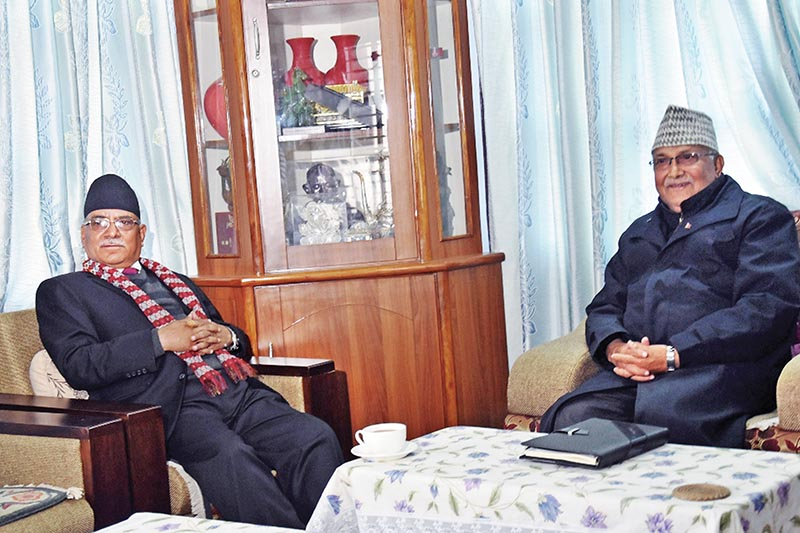 CPN Maoist Centre Chair Pushpa Kamal Dahal and CPN-UML Chair KP Sharma Oli holding a meeting at the latteru2019s residence, in Balkot, Bhatapur, on Saturday. Photo: THT