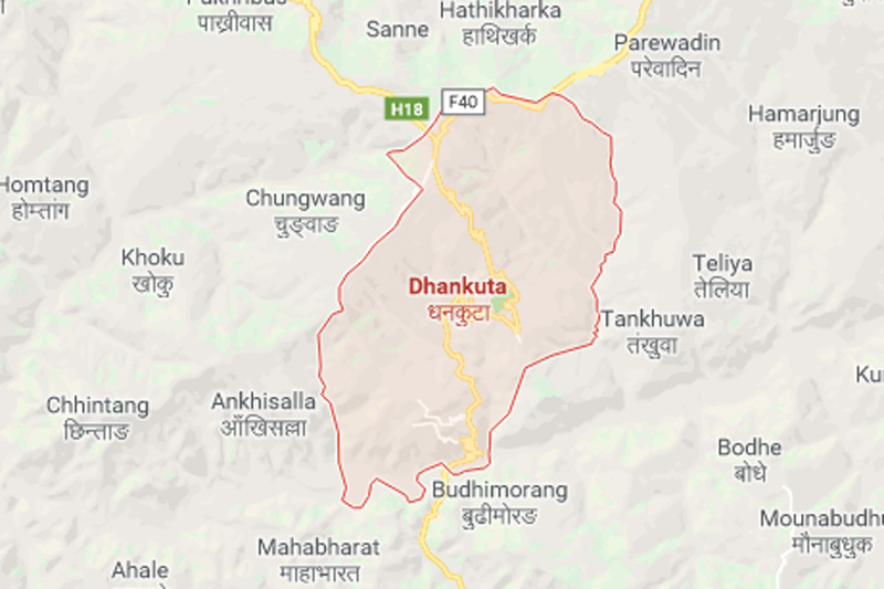 Dhankuta map. Source: Google maps