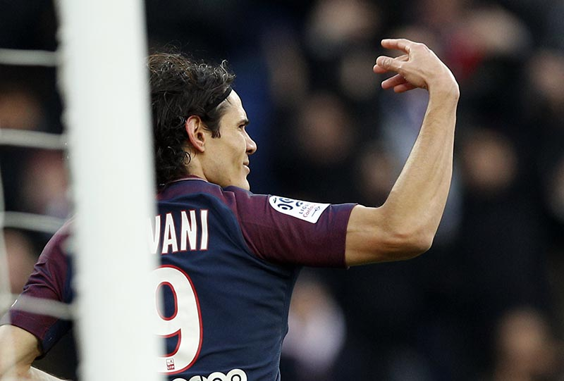 PSG's Edinson Cavani celebrates the 157th goal of his career at psg and beat the club record during his French League One soccer match between Paris Saint Germain and Montpellier at the Parc des Princes stadium in Paris, on  Saturday, January 27, 2018. Photo: AP