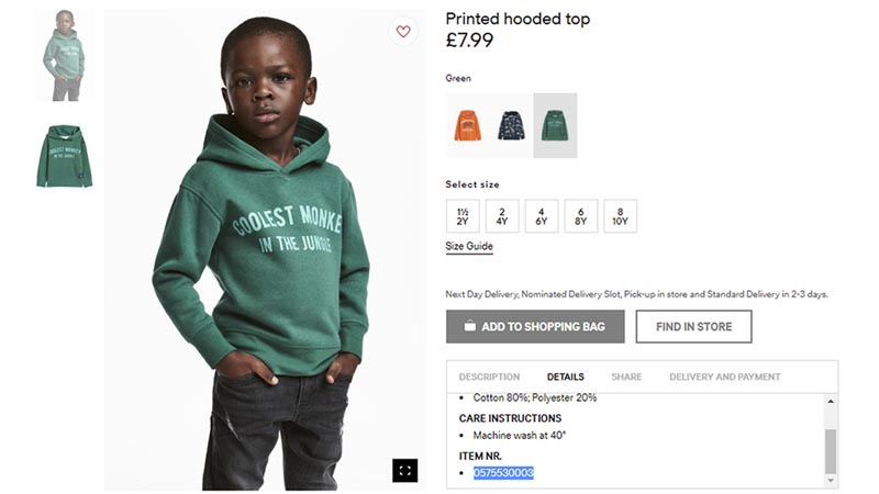 File - An undated photo of an advert for a hoodie by H&M. Photo: AP