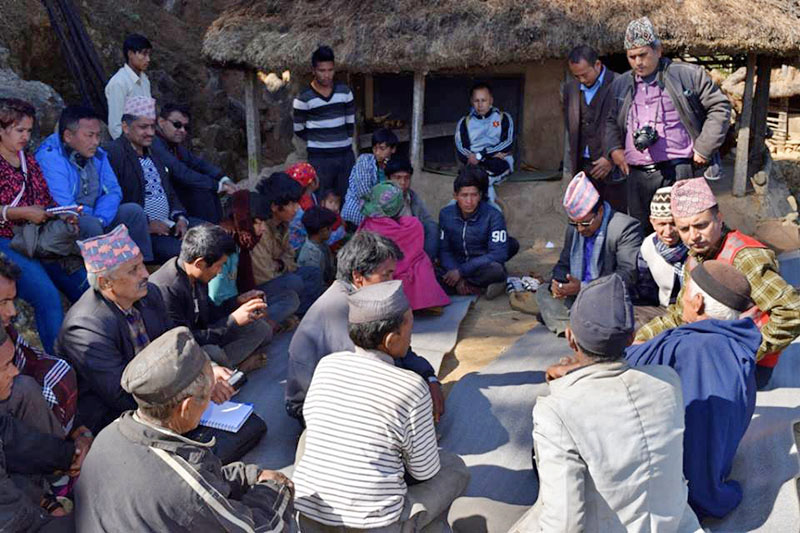 A visiting high level team holding meeting with Chepang Community at Brussbang, in Dhading district, on Sunday, January 07, 2018. Photo: Keshav Adhikari