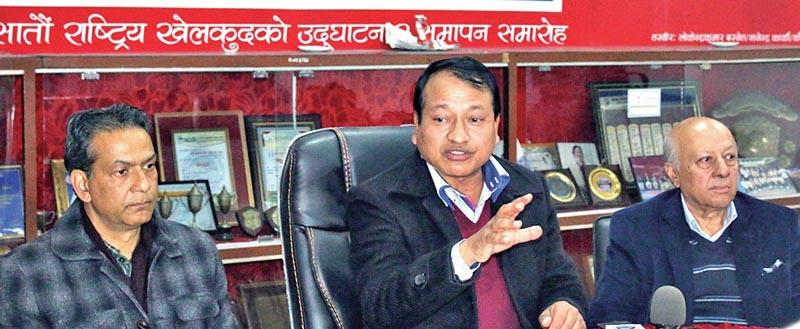 NSC Member Secretary Keshab Kumar Bista (centre) speaks as Co-convenor of Nepal Advisory Group Binay Raj Pandey (right) and elected committee General Secretary Ashok Nath Pyakurel look on during a press meet in Lalitpur. Photo: THT