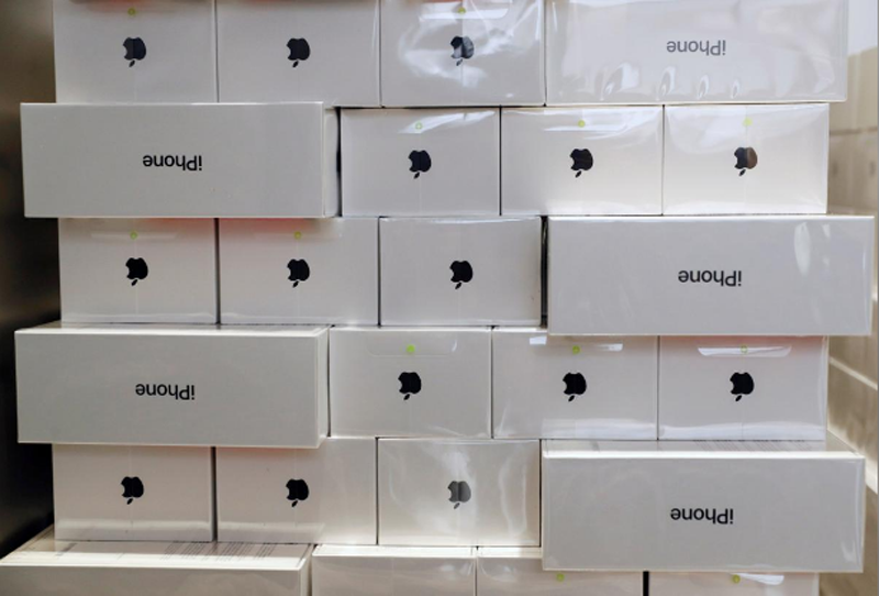 FILE-Boxes of iPhone X are pictured during its launch at the Apple store in Singapore, November 3, 2017. Photo: Reuters