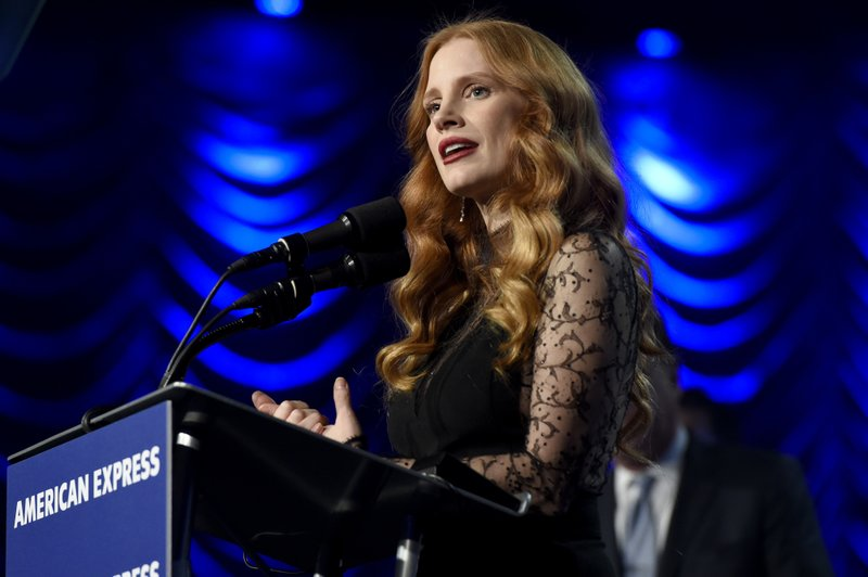 Jessica Chastain accepts the chairmanu2019s award for u201cMollyu2019s Gameu201d at the 29th annual Palm Springs International Film Festival on Tuesday, Jan. 2, 2018, in Palm Springs, Calif.