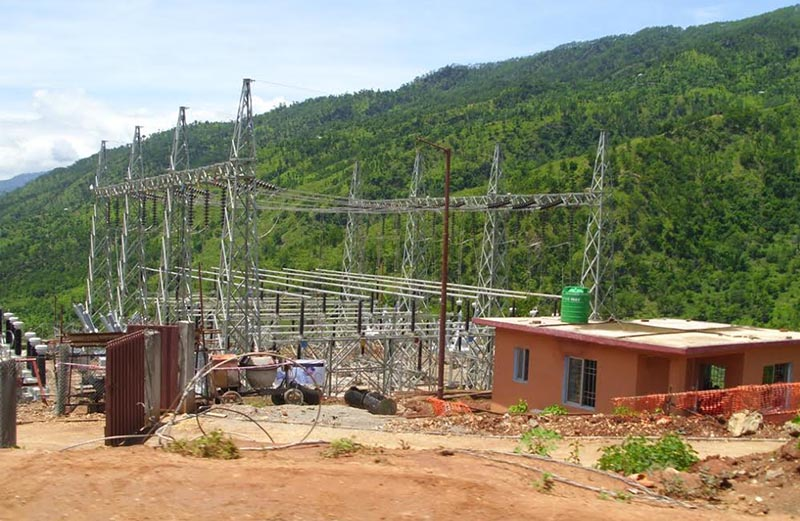 The recently constructed sub-station of Kabeli Corridor transmission line project in Phidim, Panchthar, on Saturday, January 20, 2018. Photo: THT