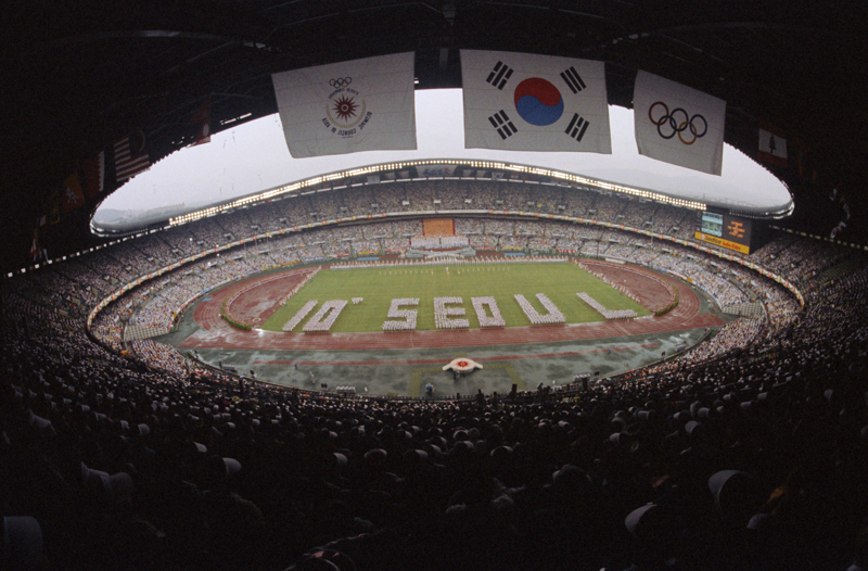 FILE-In this September 20, 1986, file photo, an opening ceremony for the Asian Games is held at Olympic stadium in Seoul, South Korea. North Korea boycotted the games. Photo:AP