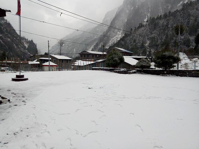 A view of ground and houses covered with snow against the background of mountains in Manang district, on Wednesday, January 24, 2018. The heavy snow has affected life and disrupted traffic in the district. Photo: THT Online