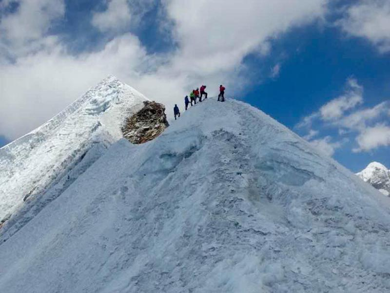 Mountaineers at the Mt Lobuche East. Photo: THT/File