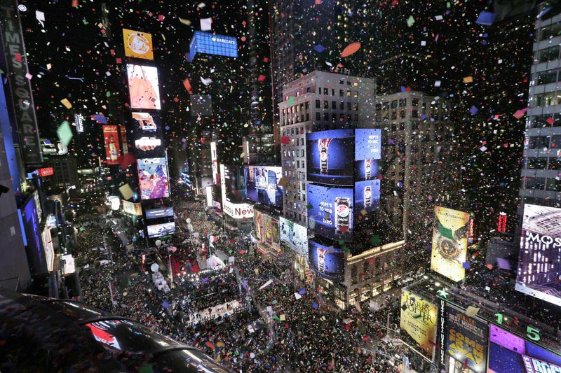 FILE: Confetti flies over Times Square during the New Year's celebration in New York, Sunday on Dec. 31, 2017. Photo: AP