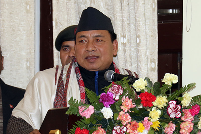 The Vice-President Nanda Bahadur Pun speaks at a programme organised by the Federation of National Christian Nepal on the occasion of New Year in Kathmandu, on Monday, January 01, 2018. Photo: RSS