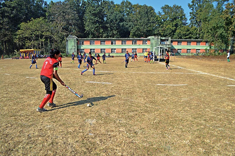 A Far-western Region player shoots the ball during the National Hockey Tournament match against Eastern Region in Hetauda on Wednesday.Photo: THT