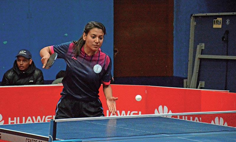 Elena Maharjan in action during the 39th National Table Tennis Tournament in Kathmandu on Wednesday. Photo: THT