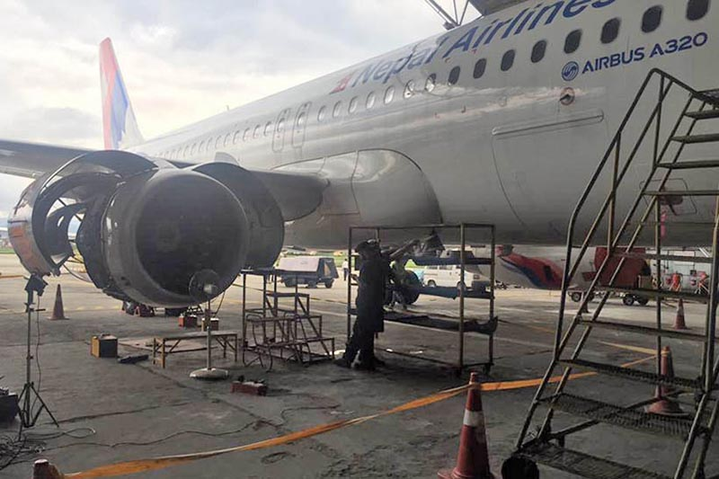 File - A view of Nepal Airlines Corporation's Airbus  A320 at the Tribhuvan International Airport in Kathmandu. Photo: THT