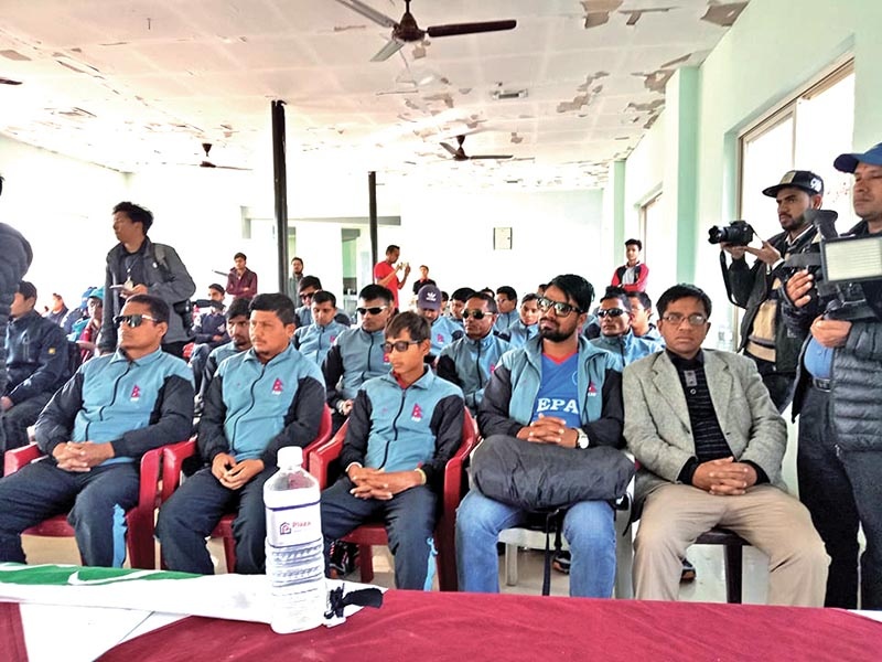 Nepal national blind cricket team members attend afelicitation programme organised by Nepali Cricket Supporters Society in Kathmandu on Monday.