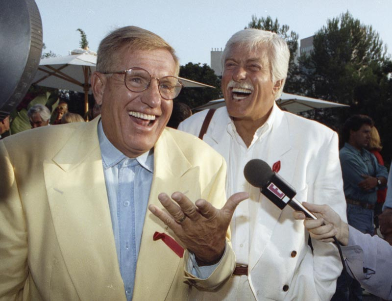 File - Jerry Van Dyke, left, and his brother, Dick, laugh during a party in Los Angeles on Aug. 25, 1992. Photo: AP