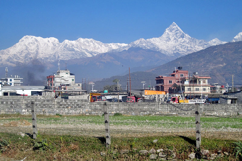 Snow covered mountain ranges are seen from Chauthe of Pokhara Lekhnath Metropolitan City on Wednesday, January 03, 2018. Photo: Rishi Ram Baral