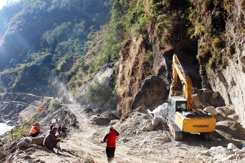 A view of Beni-Jomsom-Korala Road Project  being expanded in Annapurna Rural Municipality-3 of Myagdi district, on January 2, 2017. Photo: RSS