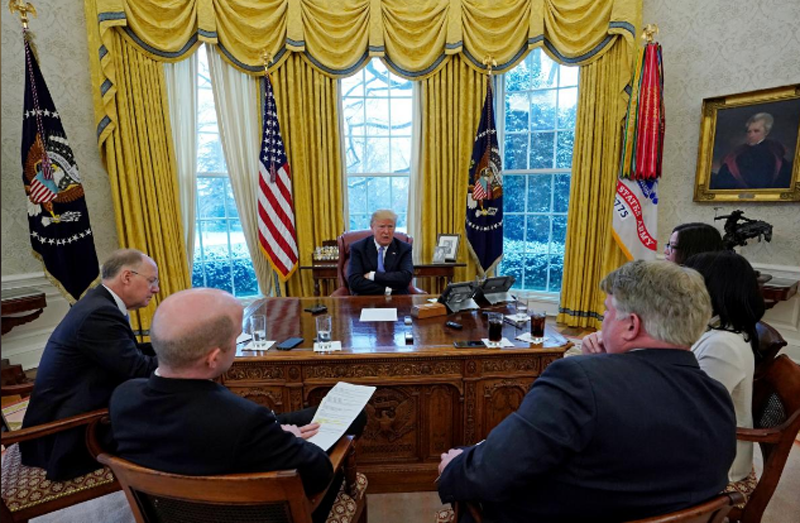 US President Donald Trump speaks during an interview with Reuters at the White House in Washington, US, January 17, 2018. Photo: Reuters