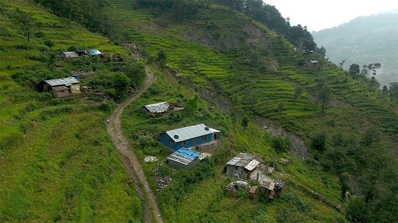 A view of landslide-prone area at Bhotekoshi Rural Municipality in Sindhupalchowk, on Saturday. Photo courtesy: Bishnu Kalpit