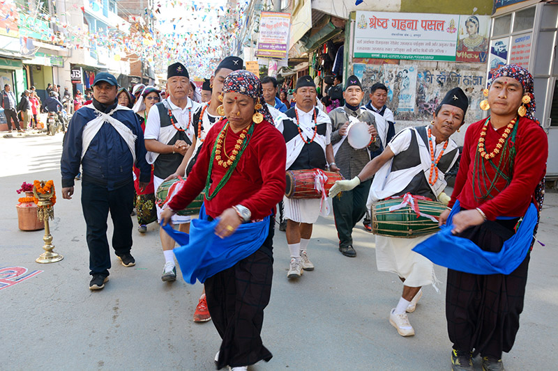 Artists from an indeginous community performing traditional Sorathi Dance during the Baglung Festival in the district, on Monday, January 01, 2018. Photo: RSS