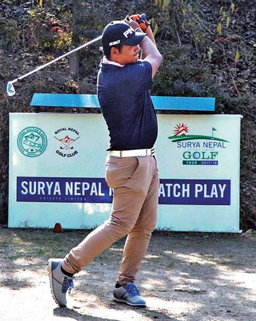 Sanjay Lama plays a shot against Shivaram Shrestha during the first round match of the Surya Nepal NPGA Match Play at the Royal Nepal Golf Club in Kathmandu on Tuesday. Photo: THT