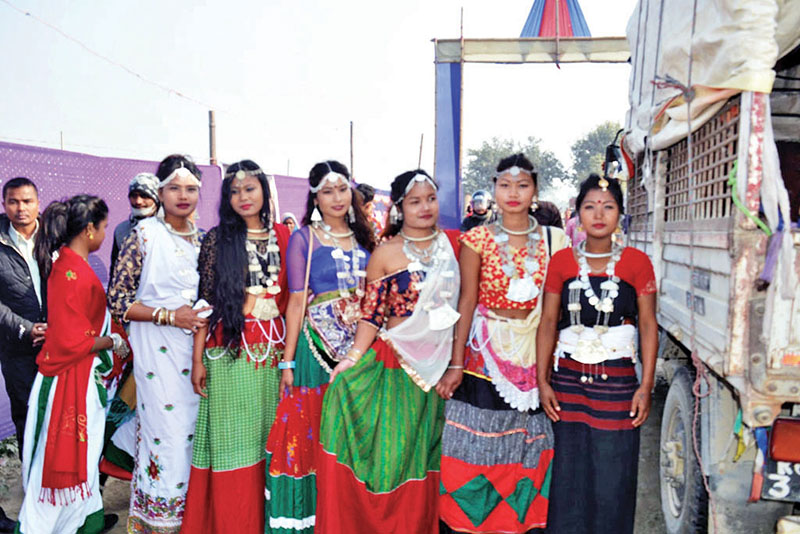 Tharu girls in traditional attire ready to celebrate Maghi, the biggest Tharu festival as well as the community's New Year, in Jhumka, Sunsari, on Sunday. Photo: THT