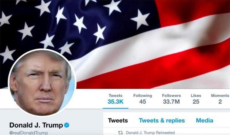 The masthead of US President Donald Trump's @realDonaldTrump Twitter account is seen on July 11, 2017. Photo: @realDonaldTrump/Handout/File Photo via Reuters