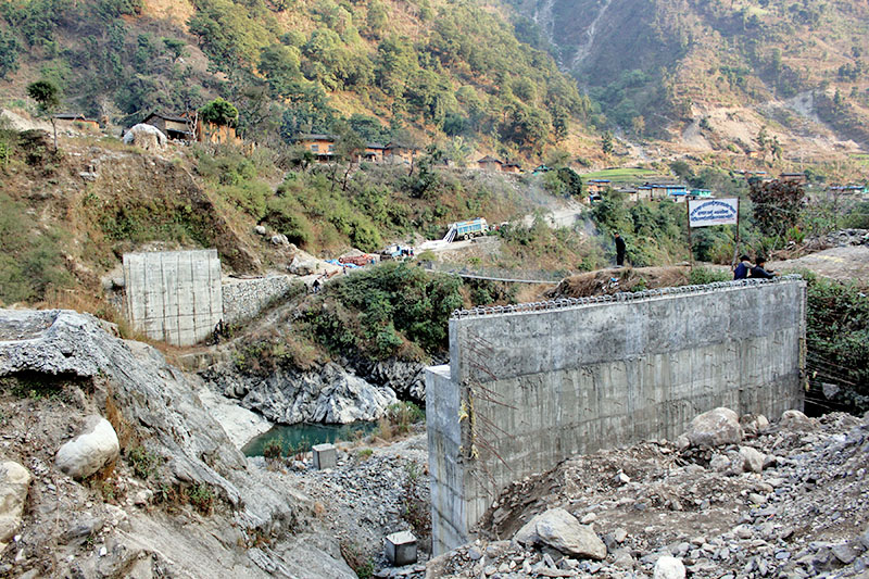 A view of a motorable bridge over Bheri river along Jajarkot-Dolpa road section in Jajarkot district, on Sunday, January 28, 2018. Locals are enraged by delay in construction of the bridge. Photo: RSS