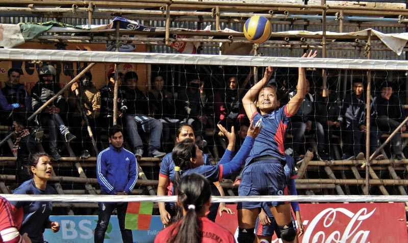 NPC's Kopila Rana jumps for a spike during their 13th Red Bull Dhorpatan UM Women's Double League Volleyball Tournament match against Three Star Academy in Kathmandu on Friday, Jan 26, 2018. Photo: THT