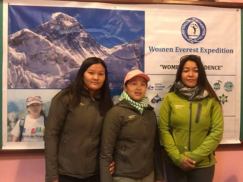File - An expedition team of three women climbers - led by Lakpa Yangjee Sherpa, along with Yangdi Sherpa and Pashang Lhamu Sherpa - pose for photo. The women are going to climb Mount Everest this spring. Photo: Pasang Sherpa