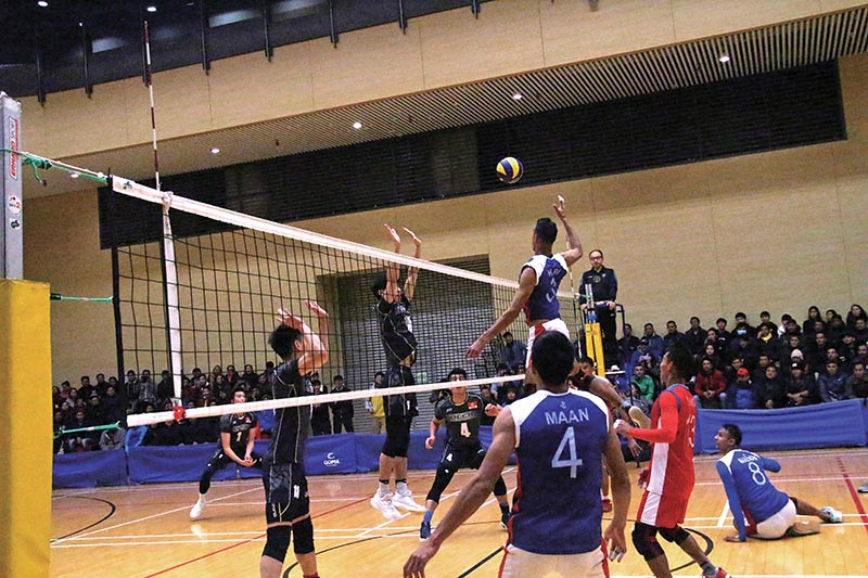 Players of Nepal (right) and Hong Kong in action during their second friendly volleyball match in Hong Kong on Monday. Photo Courtesy: NSJF
