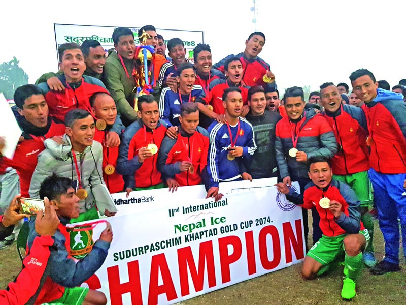 Tribhuvan Army Club team members celebrate after winning the second Nepal Ice Farwest Khaptad Gold Cup Football Tournament at the Dhangadhi Stadium in Dhangadhi on Monday.