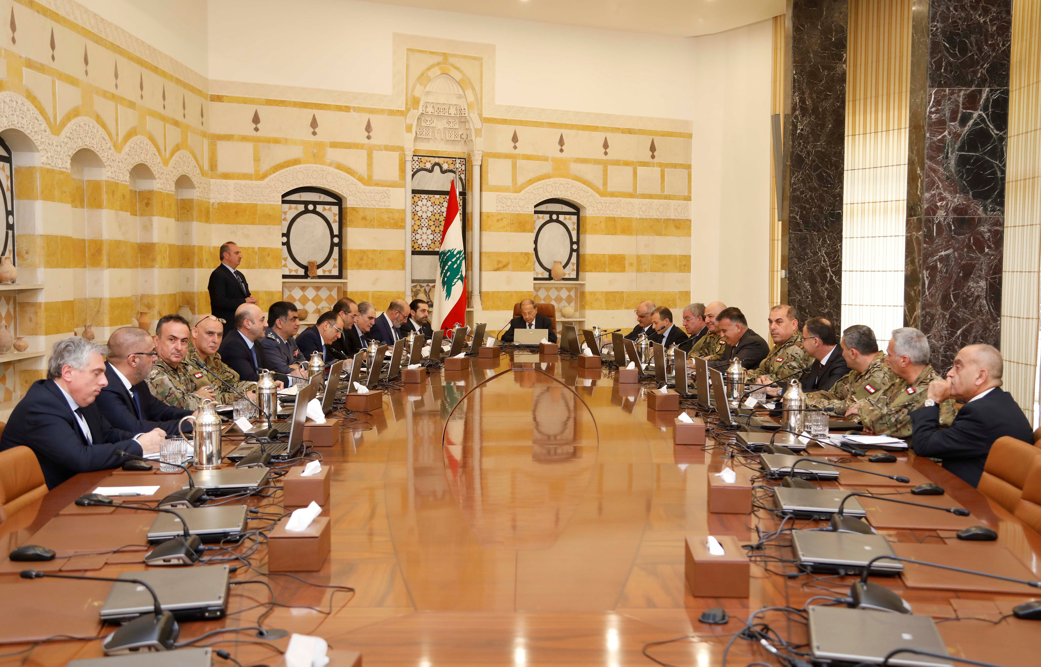 Lebanese President Michel Aoun meets with Lebanon's Higher Defence Council at the presidential palace in Baabda, Lebanon February 7, 2018. Dalati Nohra/Handout via REUTERS ATTENTION EDITORS - THIS IMAGE WAS PROVIDED BY A THIRD PARTY