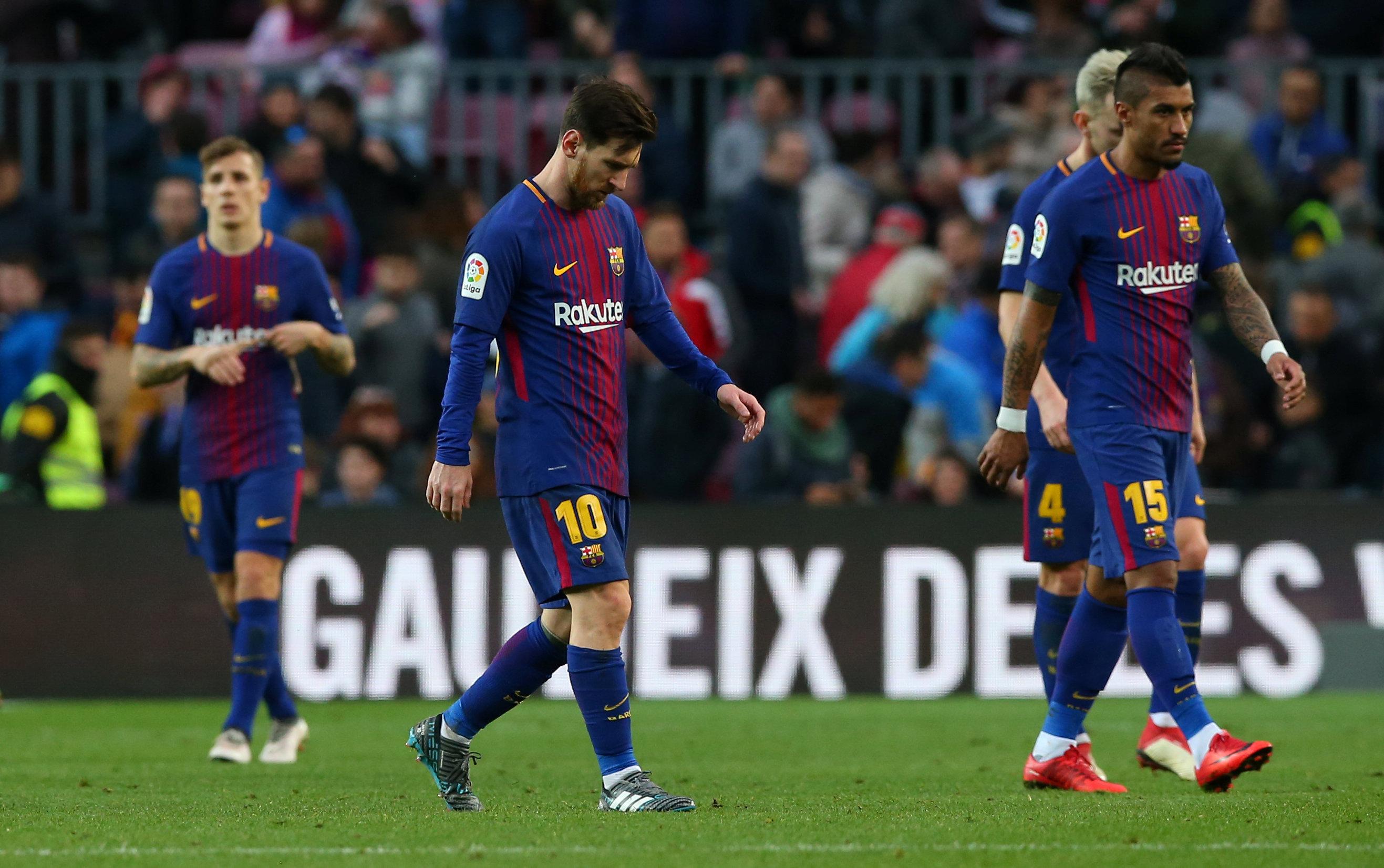 Soccer Football - La Liga Santander - FC Barcelona vs Getafe - Camp Nou, Barcelona, Spain - February 11, 2018   Barcelonau2019s Lionel Messi looks dejected after the match    REUTERS/Albert Gea