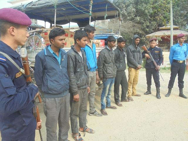 The District Police Office, Saptari making public the smugglers on Friday. PHOTO: Byas Shankar Upadhyay