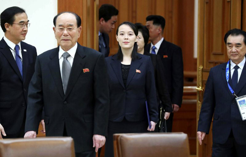 Kim Yo Jong, center, sister of North Korean leader Kim Jong Un, and the countryu0092s nominal head of state Kim Yong Nam, second from left, arrive to meet South Korean President Moon Jae-in at the presidential house in Seoul, South Korea, Saturday, Feb. 10, 2018. President Moon on Saturday met with the senior North Korean officials over lunch at Seoulu0092s presidential palace in the most significant diplomatic encounter between the rivals in years. Photo: AP