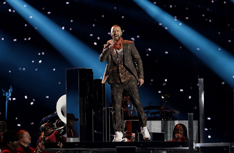 Justin Timberlake performs during halftime of the NFL Super Bowl 52 football game between the Philadelphia Eagles and the New England Patriots, Sunday, February 4, 2018. Photo: AP