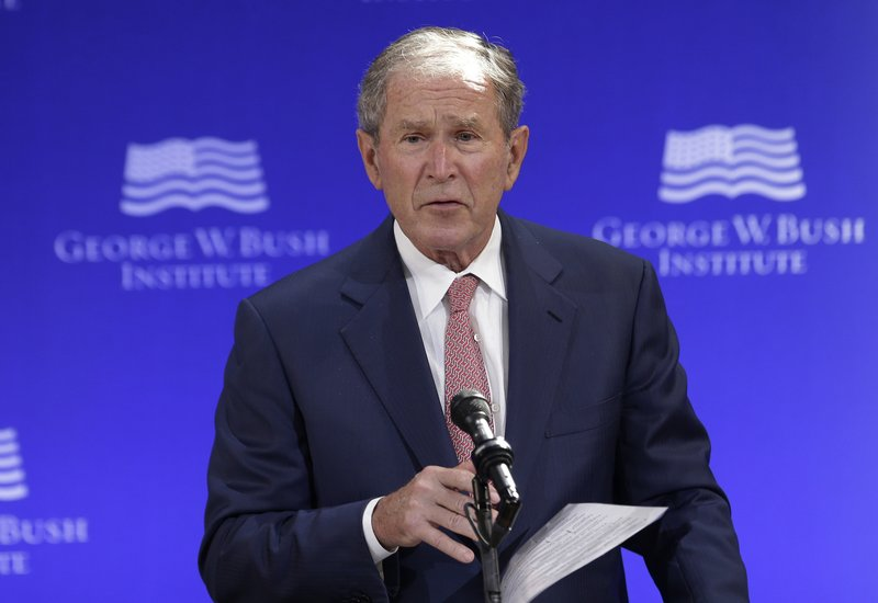 Oct. 19, 2017 file photo, former U.S. President George W. Bush speaks at a forum sponsored by the George W. Bush Institute in New York. Bush spoke Thursday at a summit in Abu Dhabi put on by the Milken Institute, an economic think tank based in Santa Monica, California.Photo: AP