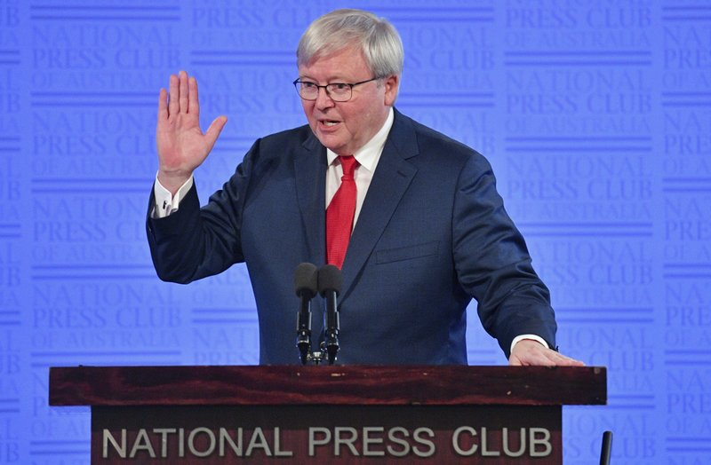 Former Australian Prime Minister Kevin Rudd speaks at the National Press Club in Canberra, Monday, Feb. 12, 2018. Rudd committed Australia to reducing the difference in life expectancies between Aboriginal and non-indigenous people on Feb. 13, 2008, when he made a historic apology to Australiau2019s indigenous minority for past injustices. Rudd told the National Press Club of Australia on Monday that the conservative governments of Prime Minister Malcolm Turnbull and his predecessor Tony Abbott had failed to maintain funding for overcoming disadvantage. Photo: AP