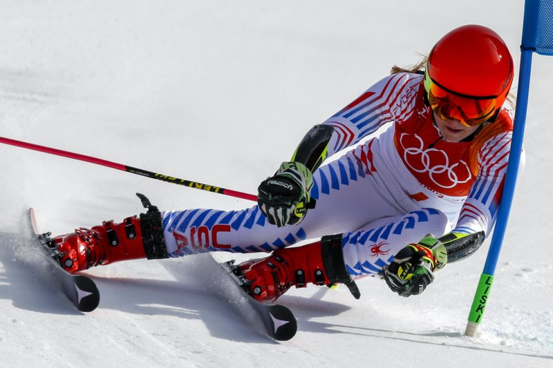 Mikaela Shiffrin, of the United States, attacks the gate during the second run of the Womenu2019s Giant Slalom at the 2018 Winter Olympics in Pyeongchang, South Korea, Thursday, February 15, 2018. Photo: AP