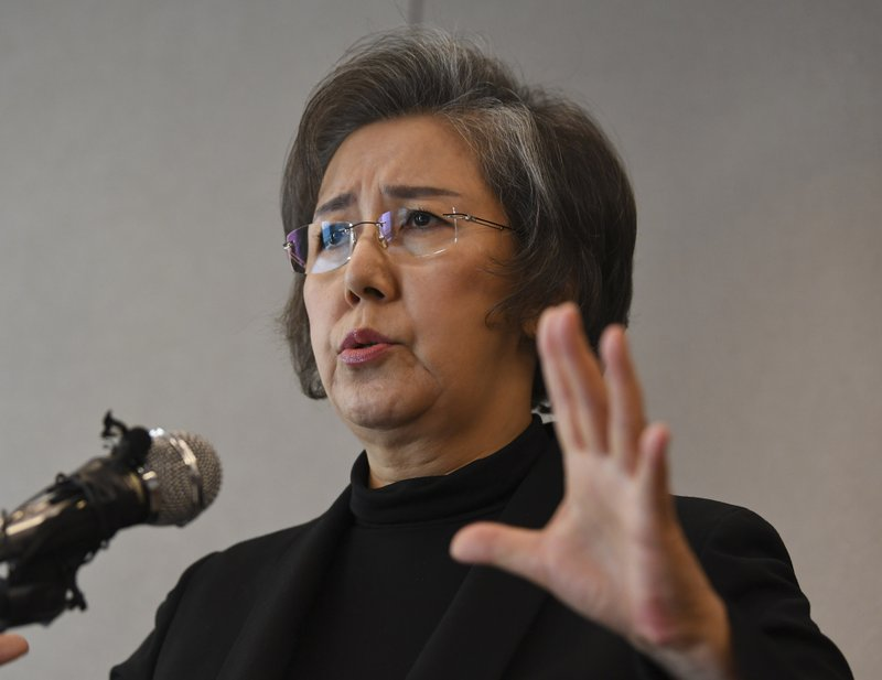 Yanghee Lee, U.N. special envoy on human rights in Myanmar, speaks during a press conference in Seoul, South Korea, Thursday, Feb. 1, 2018. Lee said Thursday that the Myanmar militaryu2019s violent operations against Rohingya Muslims bear u201cthe hallmarks of a genocide.u201d Lee said she couldnu2019t make a definitive declaration about genocide until a credible international tribunal or court had weighed the evidence but u201cwe are seeing signs and it is building up to that.u201d (AP Photo/Bang Sung-hae)n