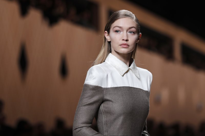Model Gigi Hadid wears a creation as part of the Fendi womenu2019s Fall/Winter 2018-2019 collection, presented during the Milan Fashion Week, in Milan, Italy, Thursday, February 22, 2018. Photo: AP