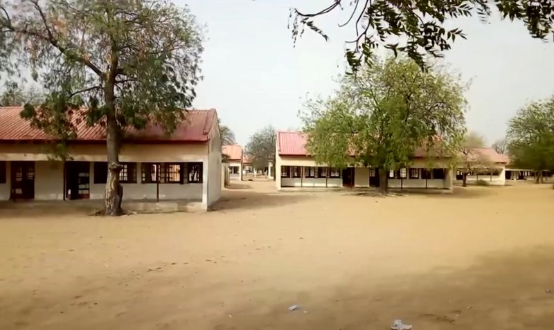 This image taken from video shows the exterior of Government Girls Science and Tech College in Dapchi, Yobe State, Nigeria on Thursday February 22, 2018. Photo: AP