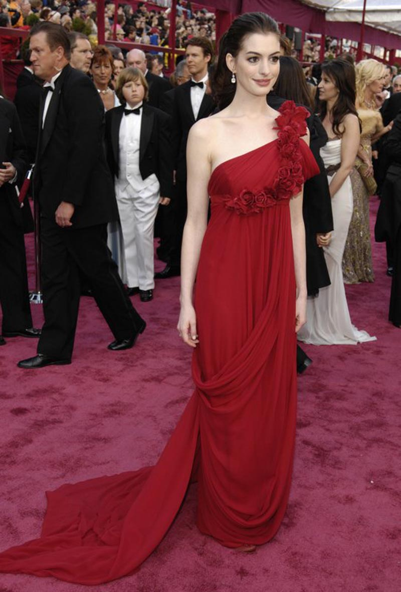 Anne Hathaway wears a Marchesa gown at the 80th Academy Awards in Los Angeles. The luxe womenswear brand Marchesa may not survive the horrors of Harvey Weinstein, the estranged husband of co-founder Georgina Chapman. The company on Wednesday, January 31, 2018. Photo: AP