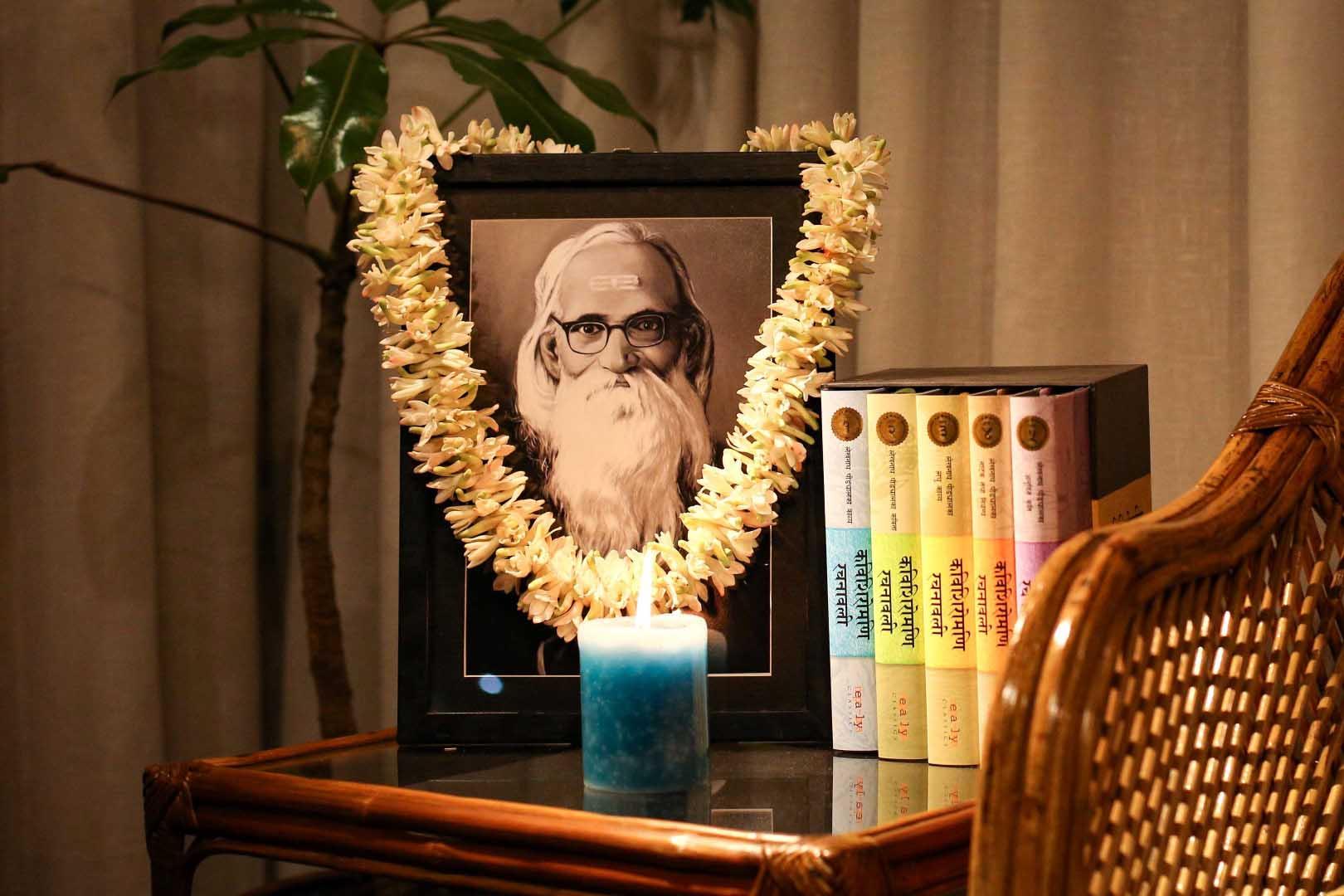 A garlanded portrait of Kabi Shiromani Lekhnath Paudel alongside his books. (Photo: Nepalaya)