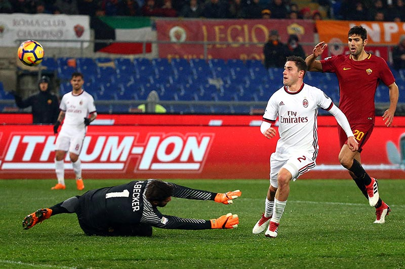 AC Milan's Davide Calabria scores their second goal during the Serie A match between AS Roma and AC Milan, at Stadio Olimpico, in Rome, Italy, in February 25, 2018. Photo: Reuters