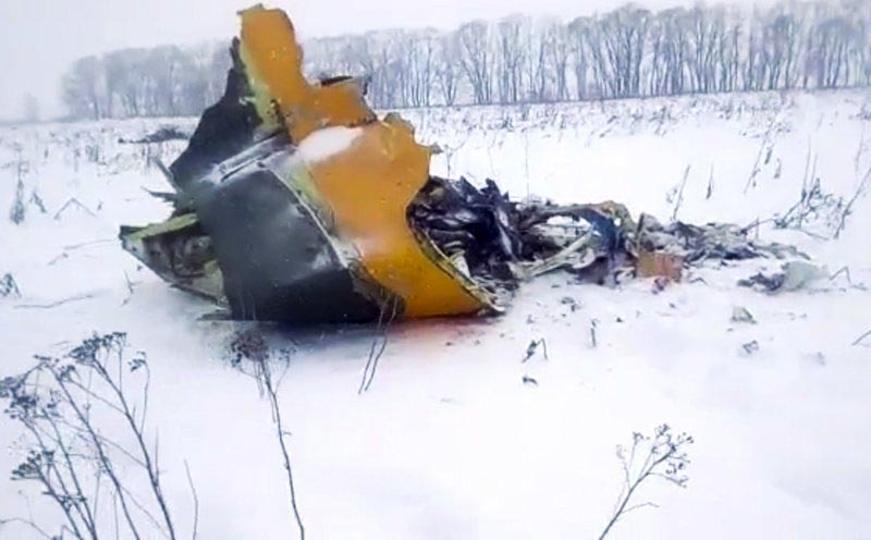 File - In this screen grab provided by the Life.ru, the wreckage of a AN-148 plane is seen in Stepanovskoye village, about 40 kilometers (25 miles) from the Domodedovo airport, Russia, on Sunday, Feb. 11, 2018. Photo: AP