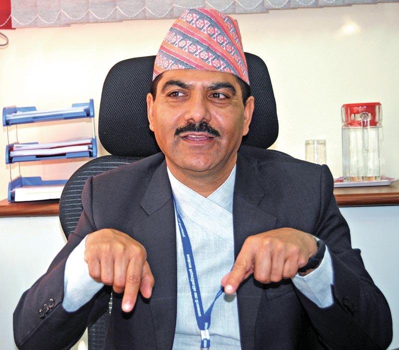 Interview with Baikuntha Aryal Acting Secretary at Singha Durbar in Kathmandu on Sunday, February 18, 2018. Photo: THT