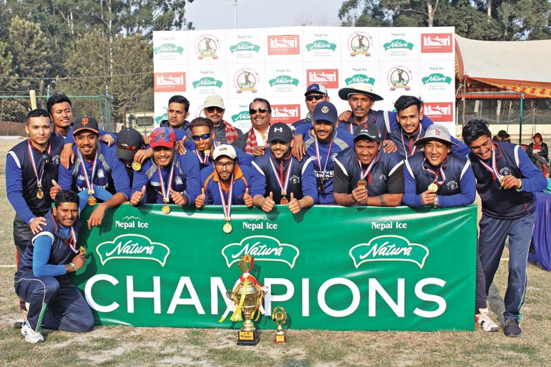 Baluwatar Cricket Club players and officials pose for a group photo after the Khukuri Challenger T20 Cup at the Tribhuvan University Stadium on Saturday, February 17, 2018. Photo: THT